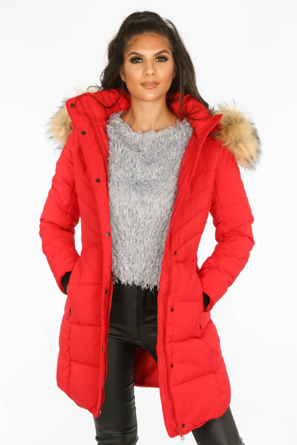 Red Quilted Puffer Coat With Luxe Faux Fur