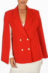 Red Double Breasted Cape Blazer