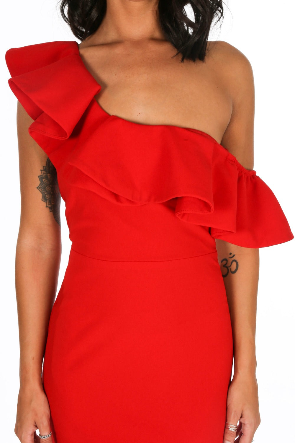 Red One Shoulder Frill Maxi Dress
