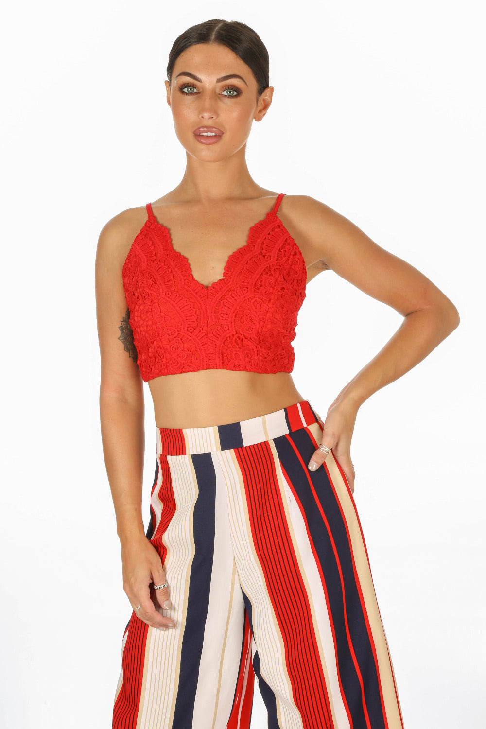 Red Scallop Edge Crochet Bralet