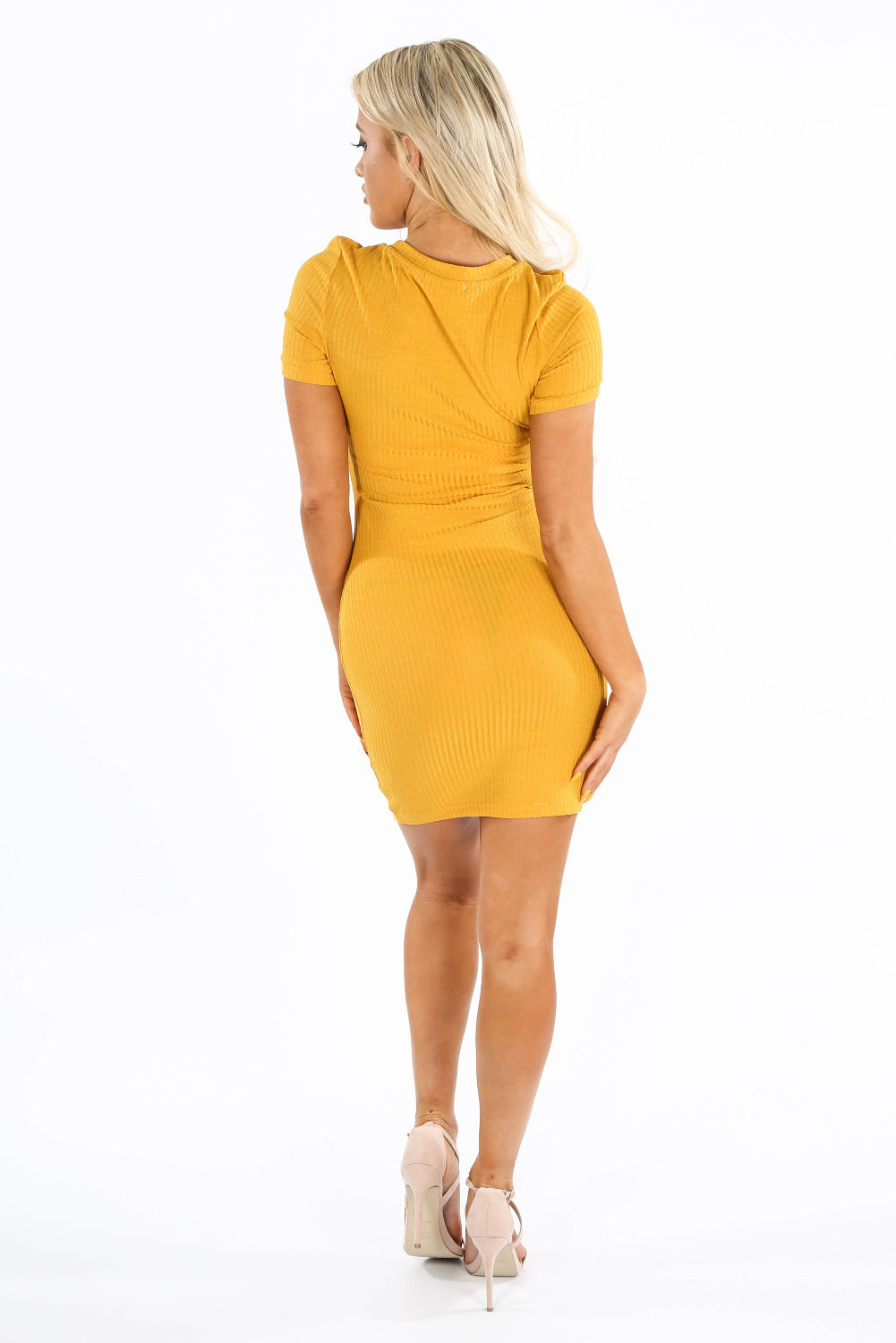 Ribbed Bodycon Jersey Dress In Mustard