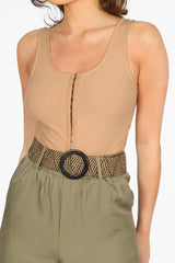 Beige Clasp Front Cut Out Bodysuit