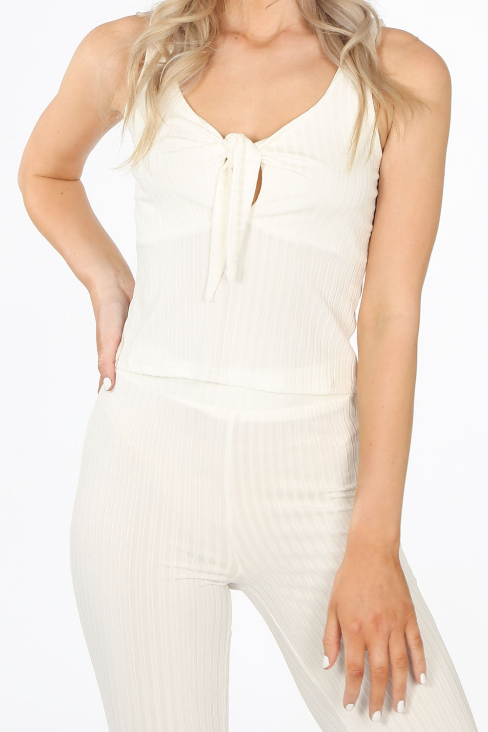 White Ribbed Jersey Tie Front Co-ord