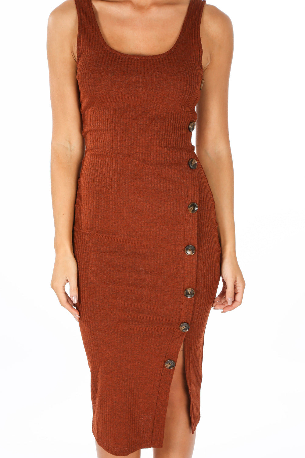 Ribbed Jersey Midi Dress With Button Detail In Rust