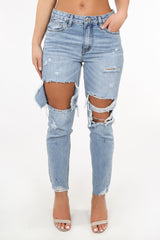 Light Wash Distressed Mom Jeans
