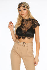 Black Floral Lace Crop Top With Bralet