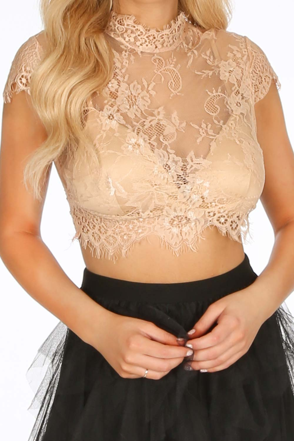 Taupe Floral Lace Crop Top With Bralet