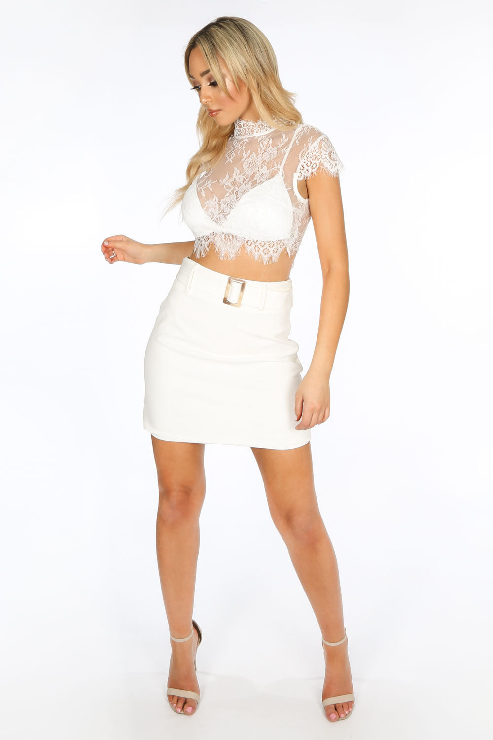 White Floral Lace Crop Top With Bralet