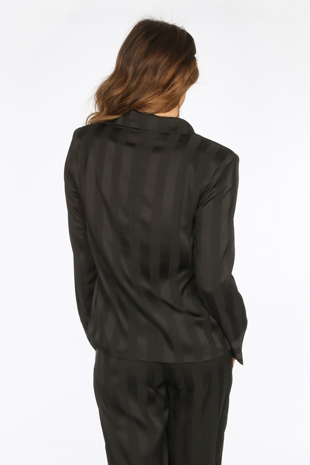 Black Embossed Stripe Satin Blazer
