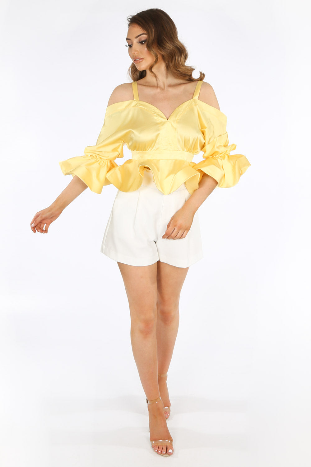 Yellow Satin Cold Shoulder Peplum Top