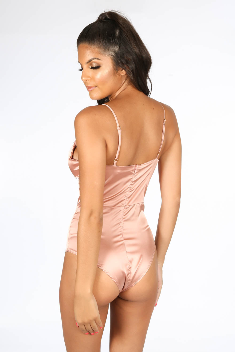 Satin & Lace Bodysuit In Pink