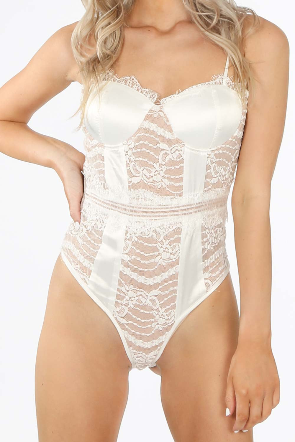 White Satin And Contrast Lace Bodysuit