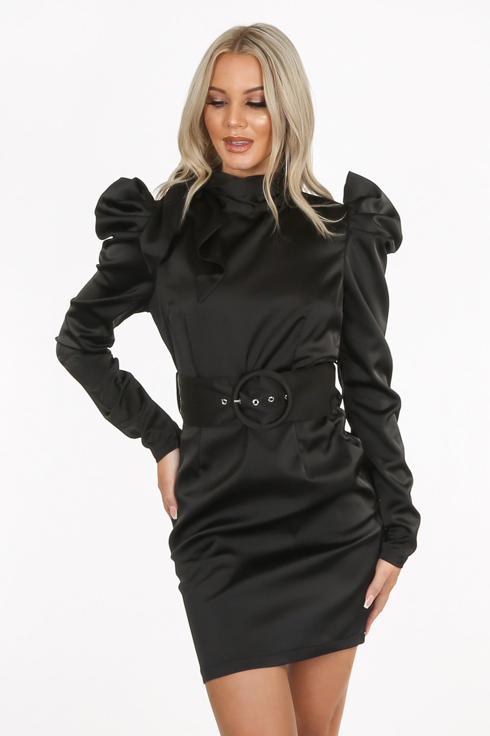 Black Satin High Tie Neck Mini Dress with Belt