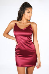 Burgundy Satin Mini Dress With Diamante Straps