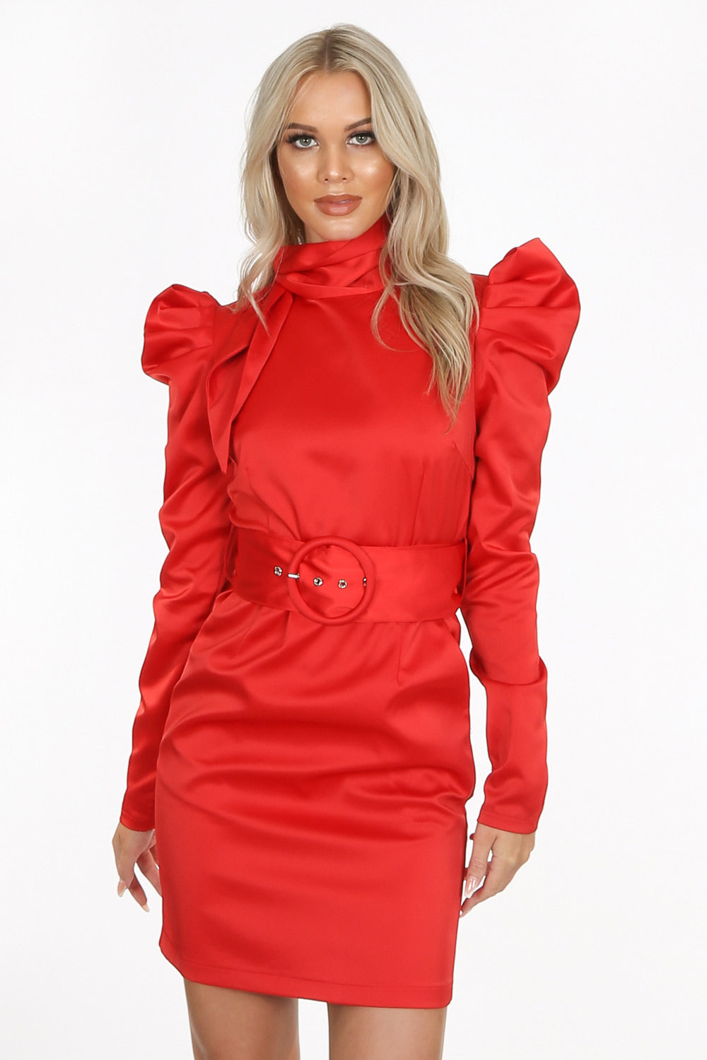Red Satin High Tie Neck Mini Dress with Belt