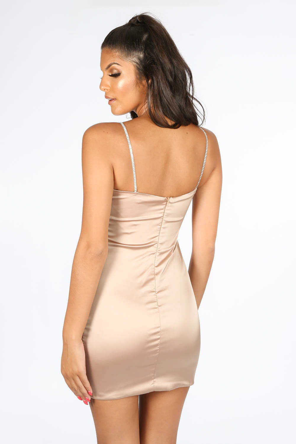 Champagne Satin Mini Dress With Diamante Straps