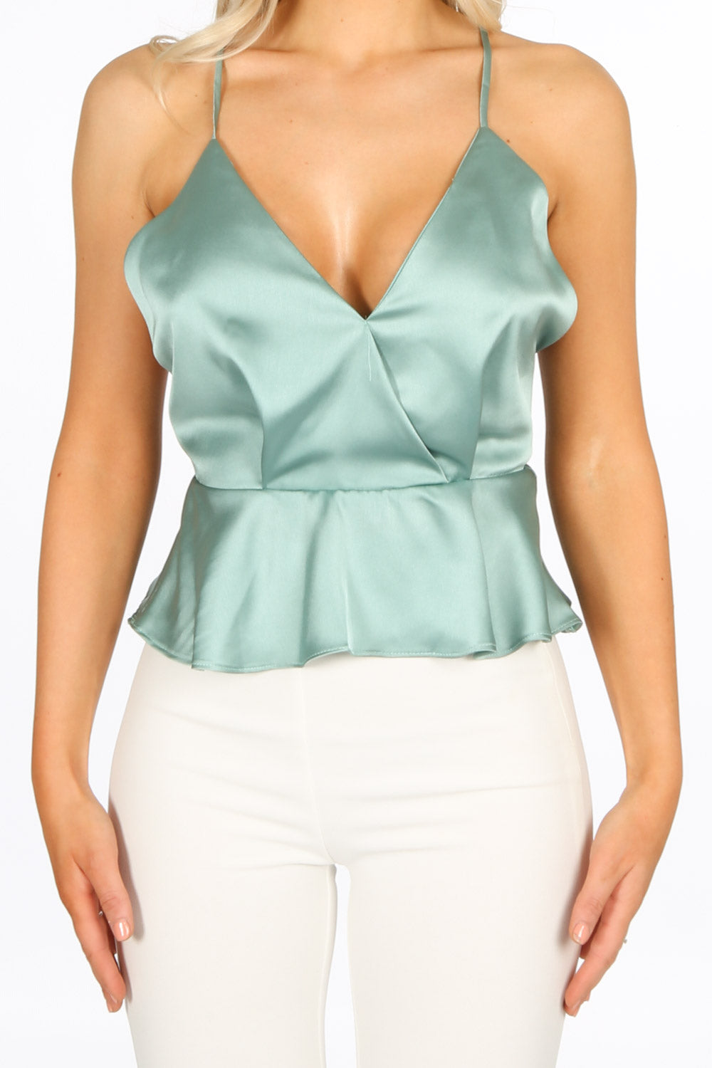 Strappy Satin Peplum Cami Top In Mint Green