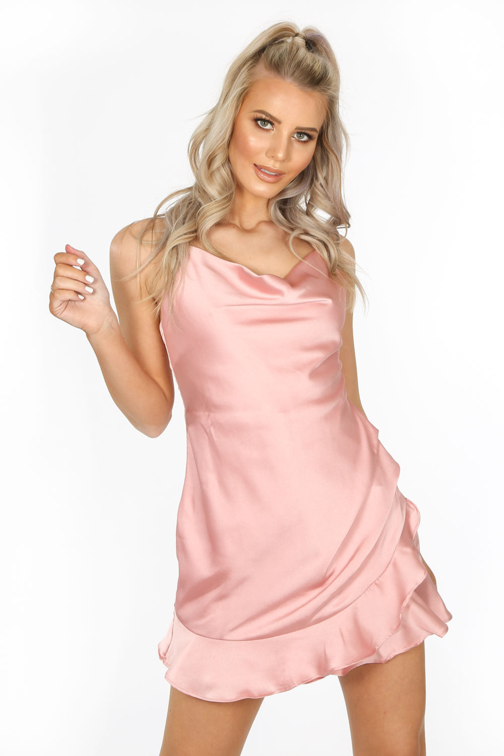 Pink Cowl Neck Frill Satin Playsuit