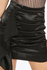 Black Satin Frill Front Mini Skirt
