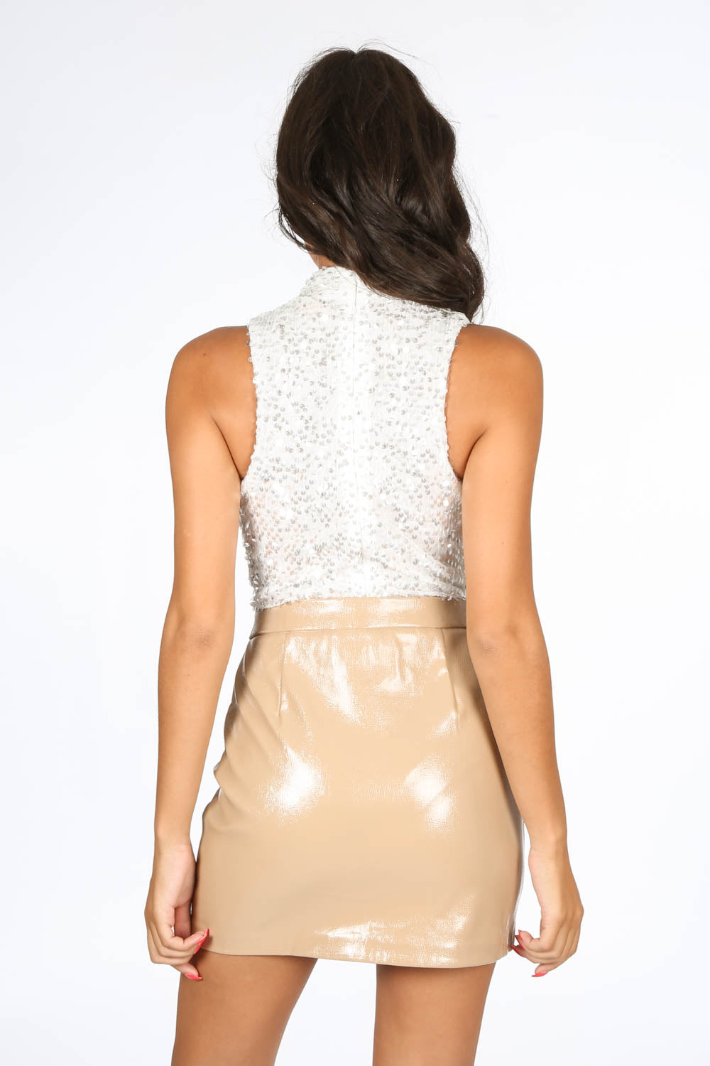 Sequin Plunge Front Bodysuit In White