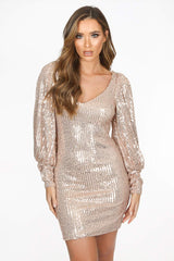 Rose Gold Long Sleeve Sequin Dress With Cuff