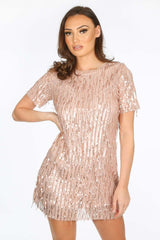 Sequin Short Sleeve Mini Dress in Pink
