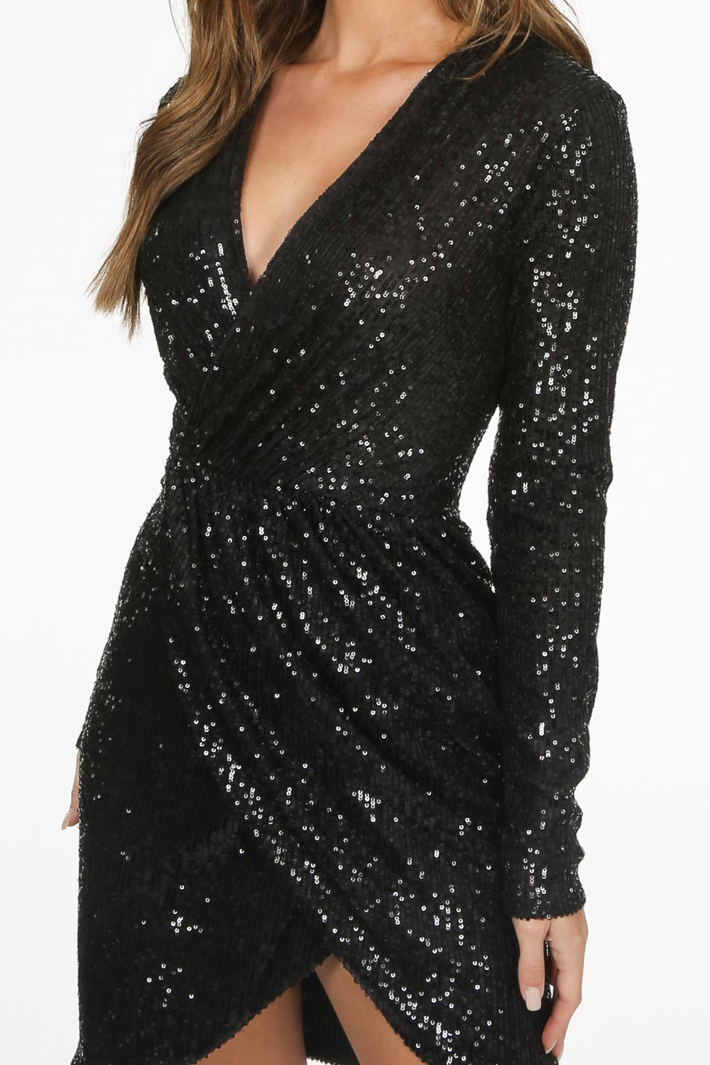 Black Long Sleeve Sequin Cross Over Dress