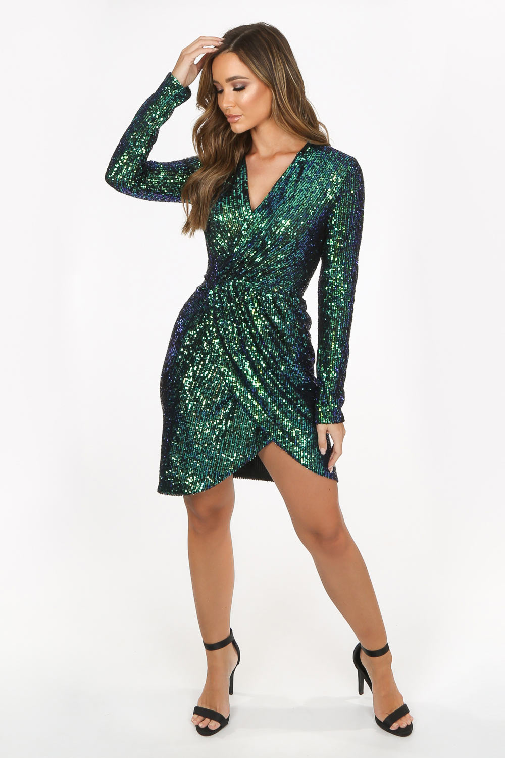 Green Long Sleeve Sequin Cross Over Dress