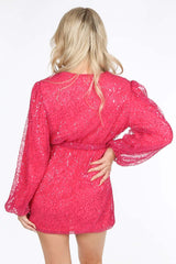 Long Sleeve Sequin Wrap Front Mini Dress in Fuchsia