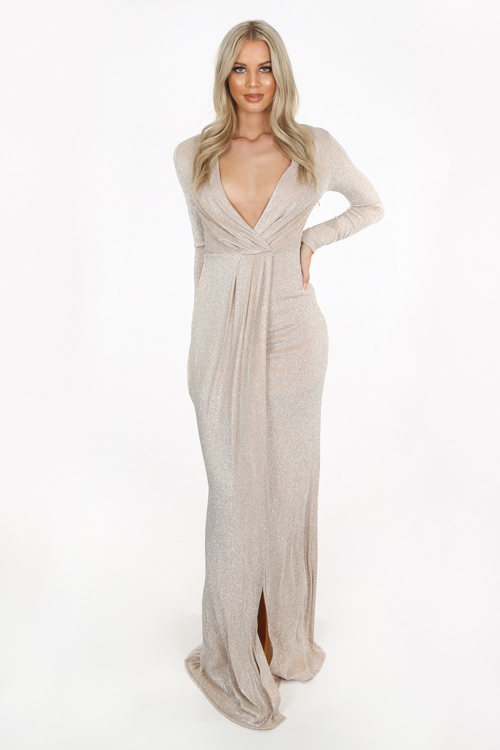 Gold Long Sleeve Lurex Maxi Dress With Split