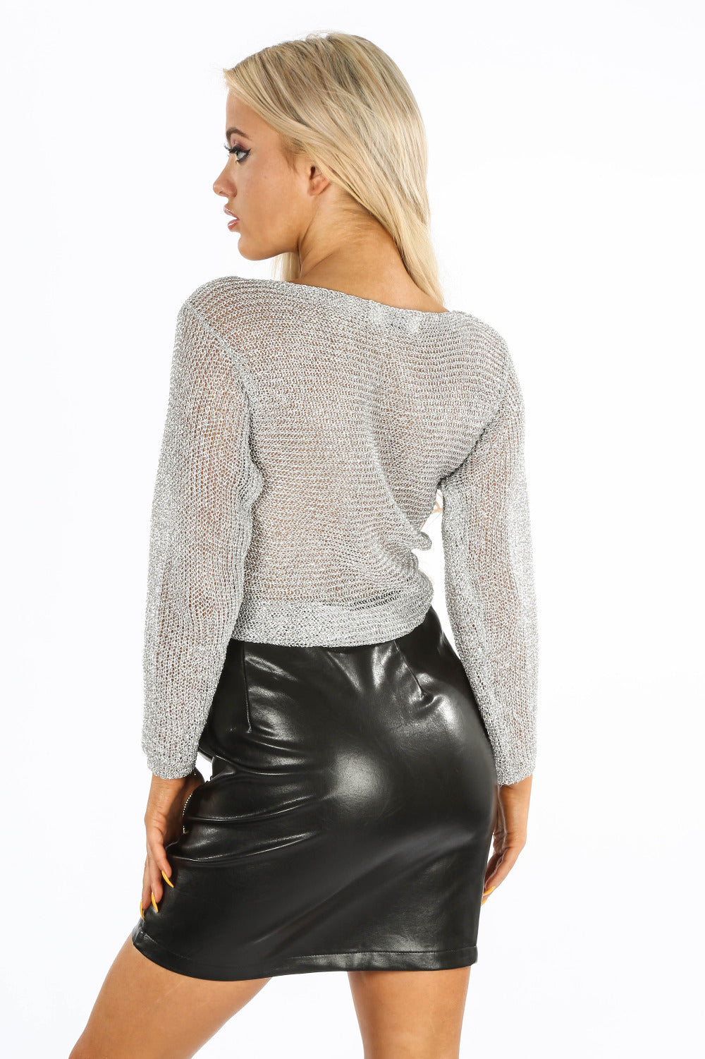 Silver Metallic Knit Cross Over Top