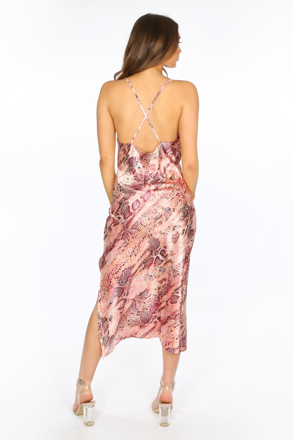 Pink Satin Snake Print Cowl Neck Midi Dress