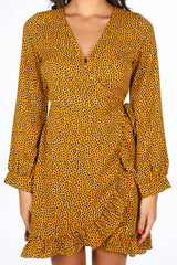 Mustard Long Sleeve Spotted Print Wrap Dress