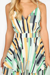 Green Multi-Striped Playsuit