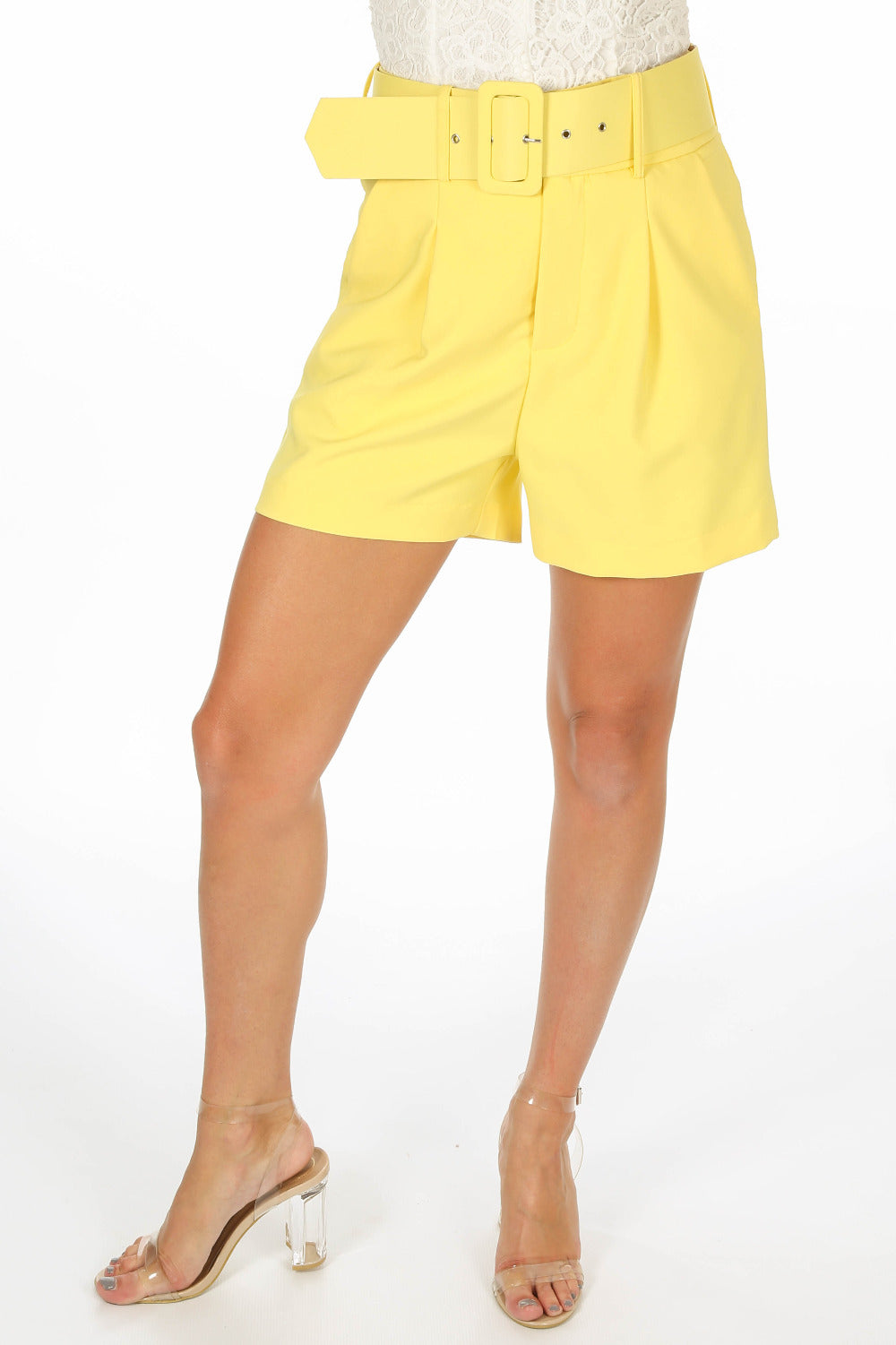 Tailored Belted Shorts In Yellow