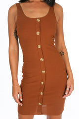 Tan Button Front Ribbed Jersey Dress