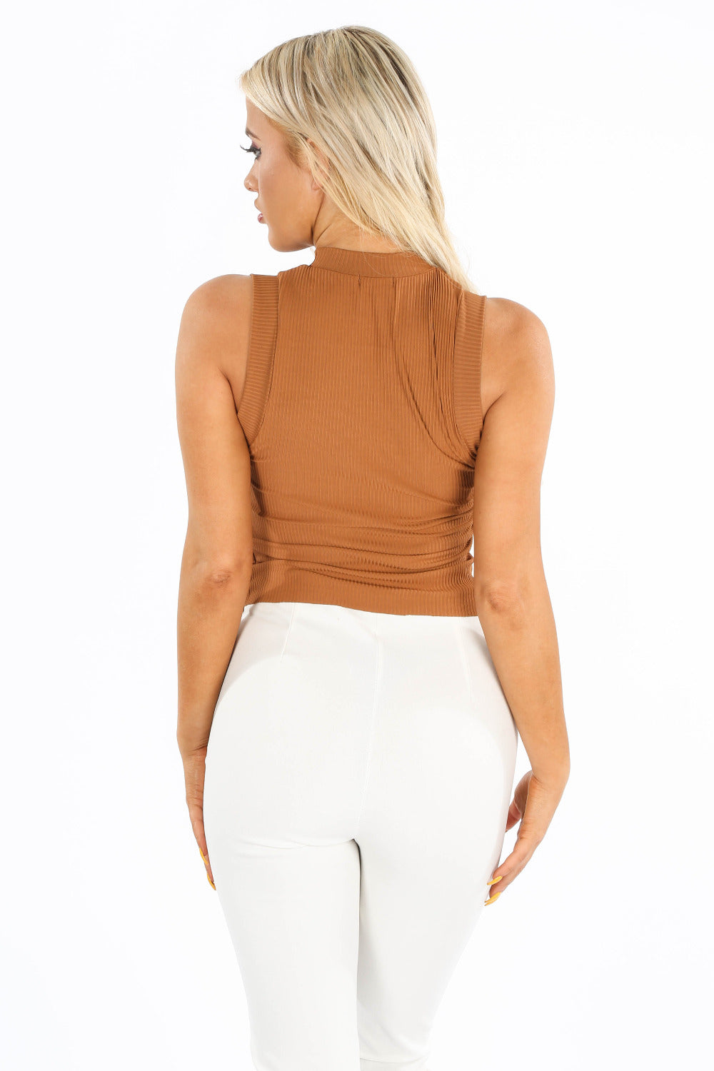 Tan High Neck Ribbed Jersey Top