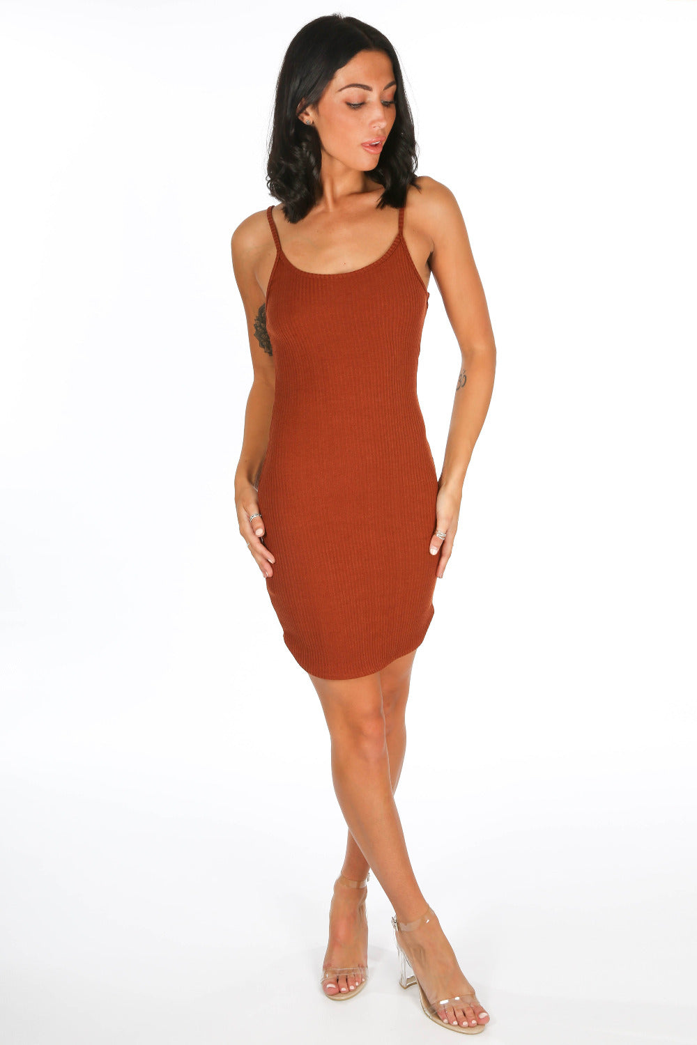 Tan Ribbed Jersey Cami Dress