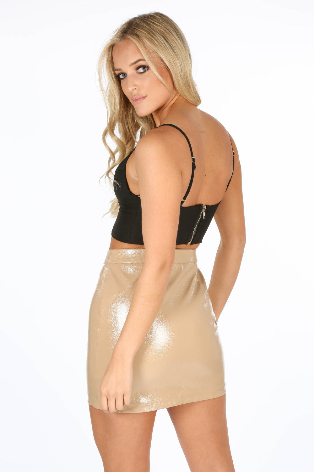 Taupe Vinyl Zip Front Mini Skirt