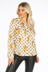 Tiger Print Blouse In White