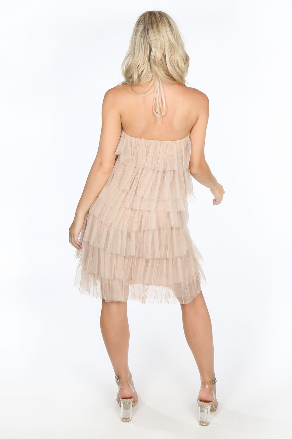 Nude Layered Tulle Halter Neck Dress