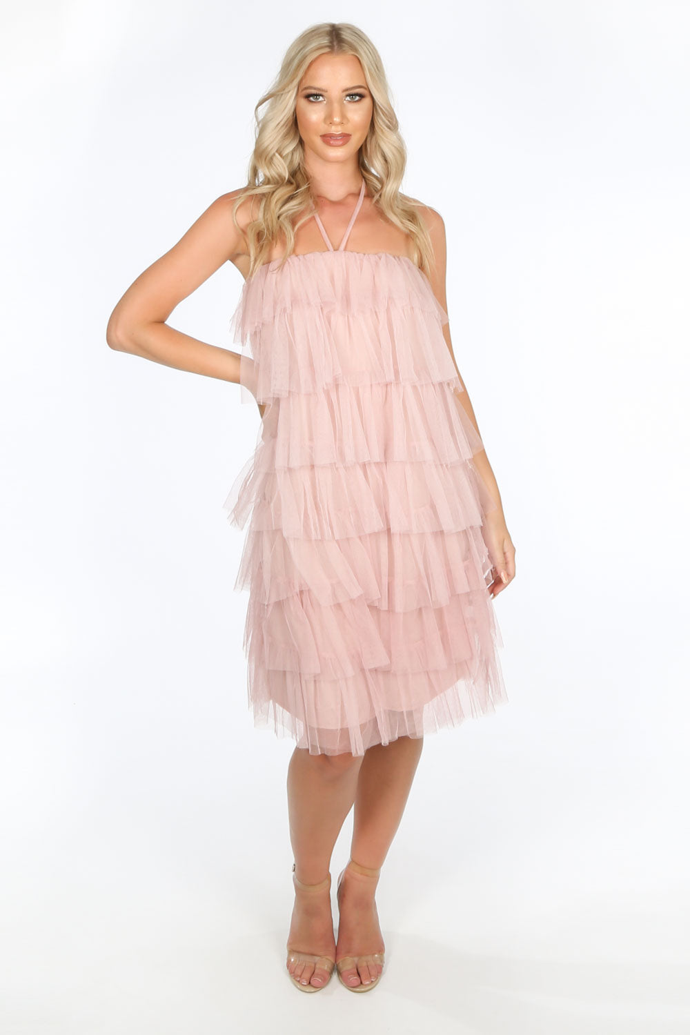 Pink Layered Tulle Halter Neck Dress
