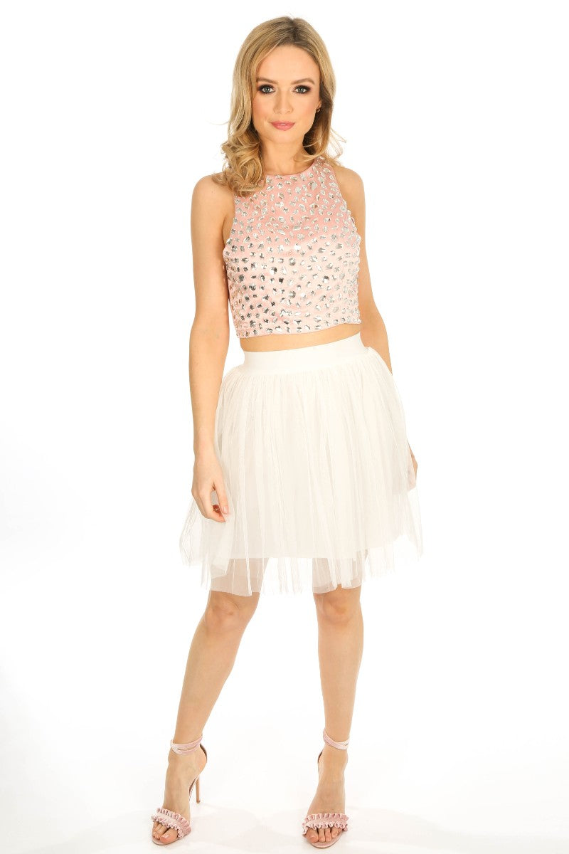 Stone Embellished Front Crop Top In Pink