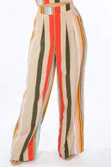 Striped Print Wide Leg Trouser In Beige