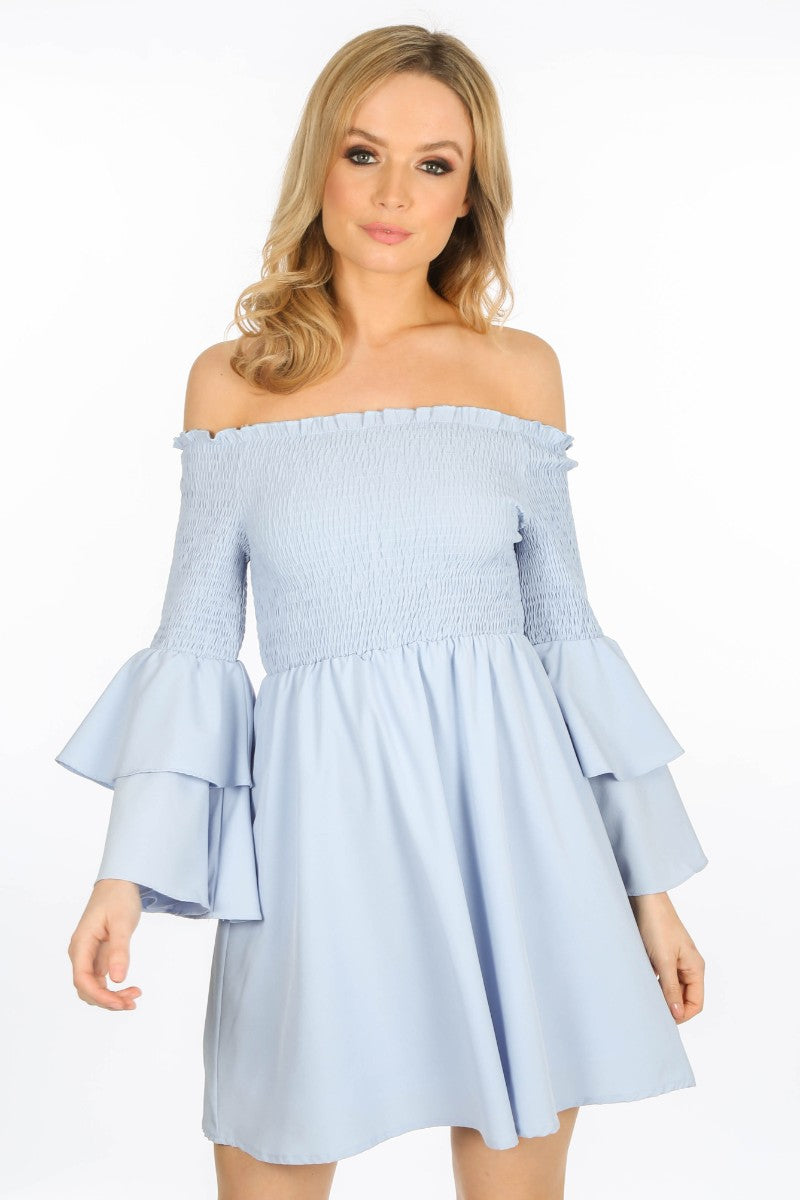 Blue Off The Shoulder Flute Sleeve Day Dress