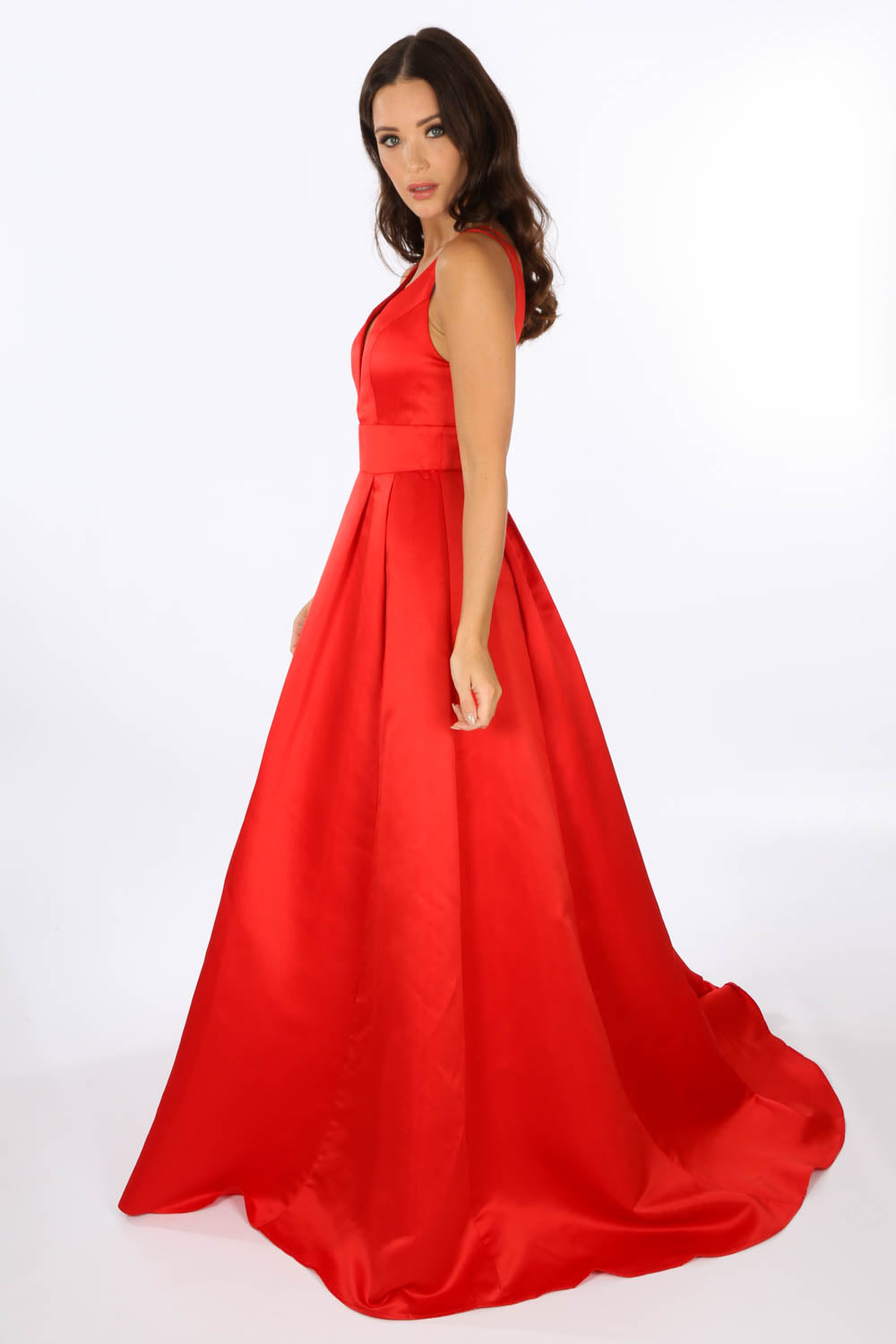 Plunge Neck Satin Maxi Dress In Red
