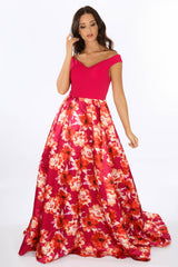 Fuchsia Floral Print Satin Maxi Dress