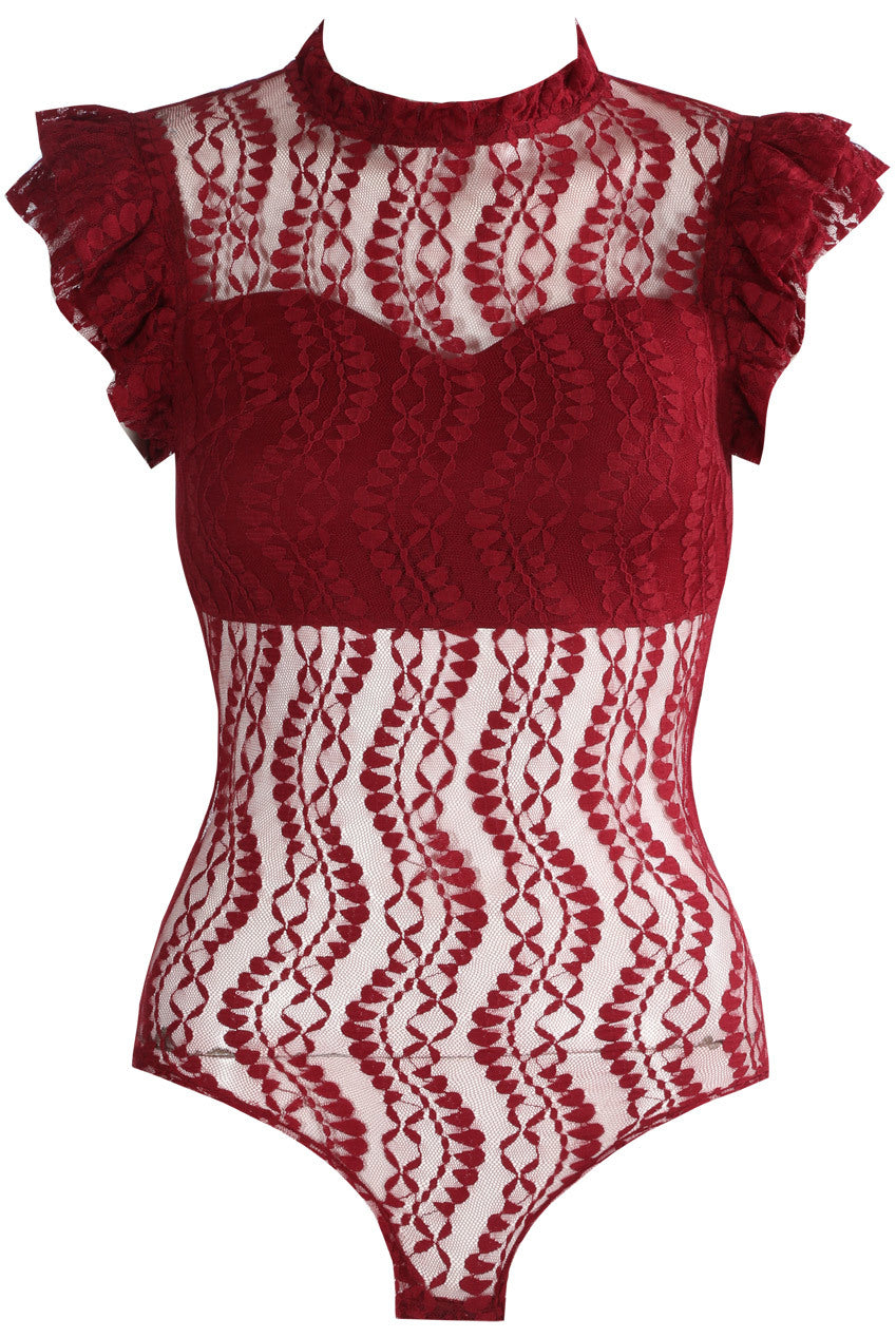 Burgundy High Neck Lace Bodysuit