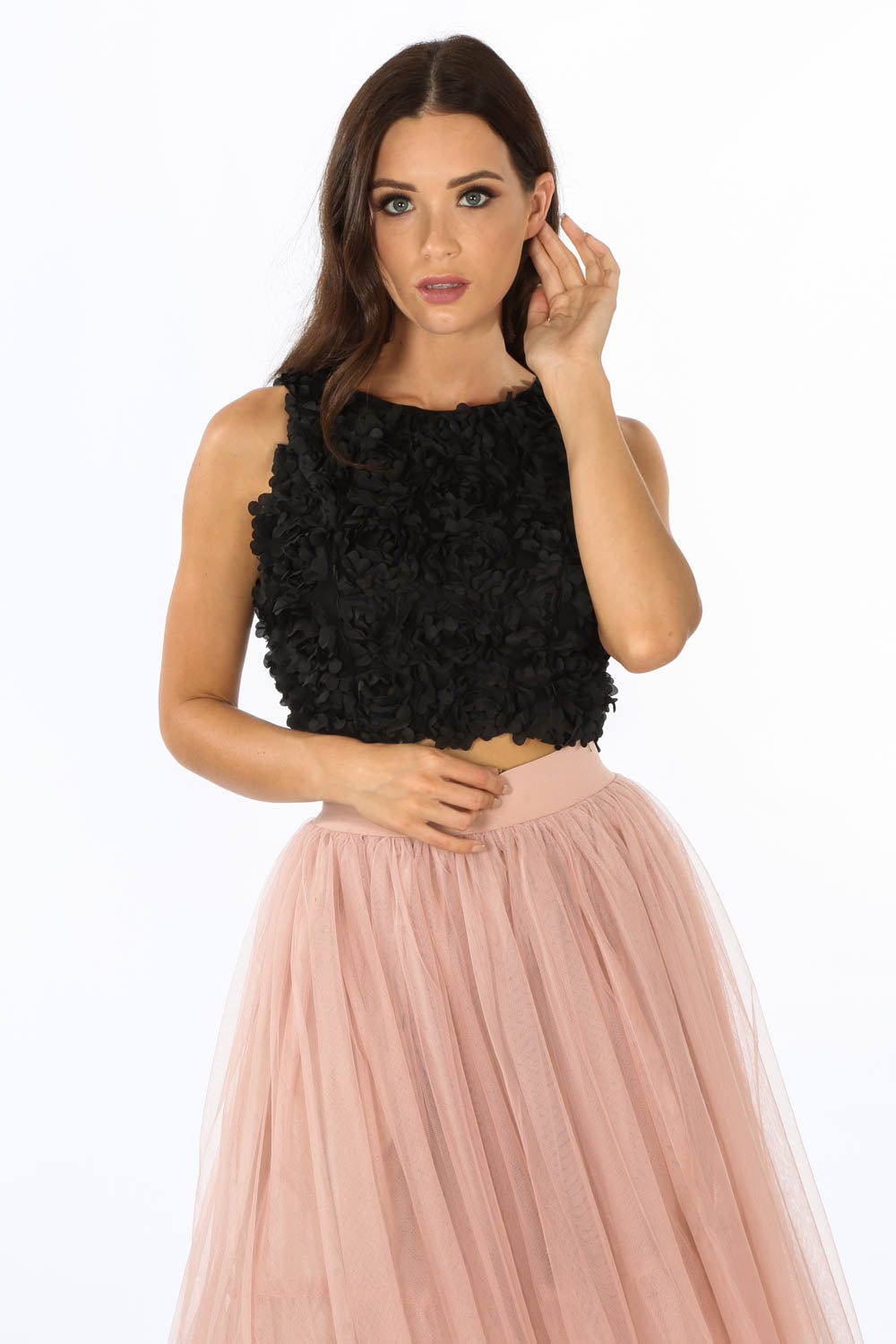 Black Faux Petal Sleeveless Top