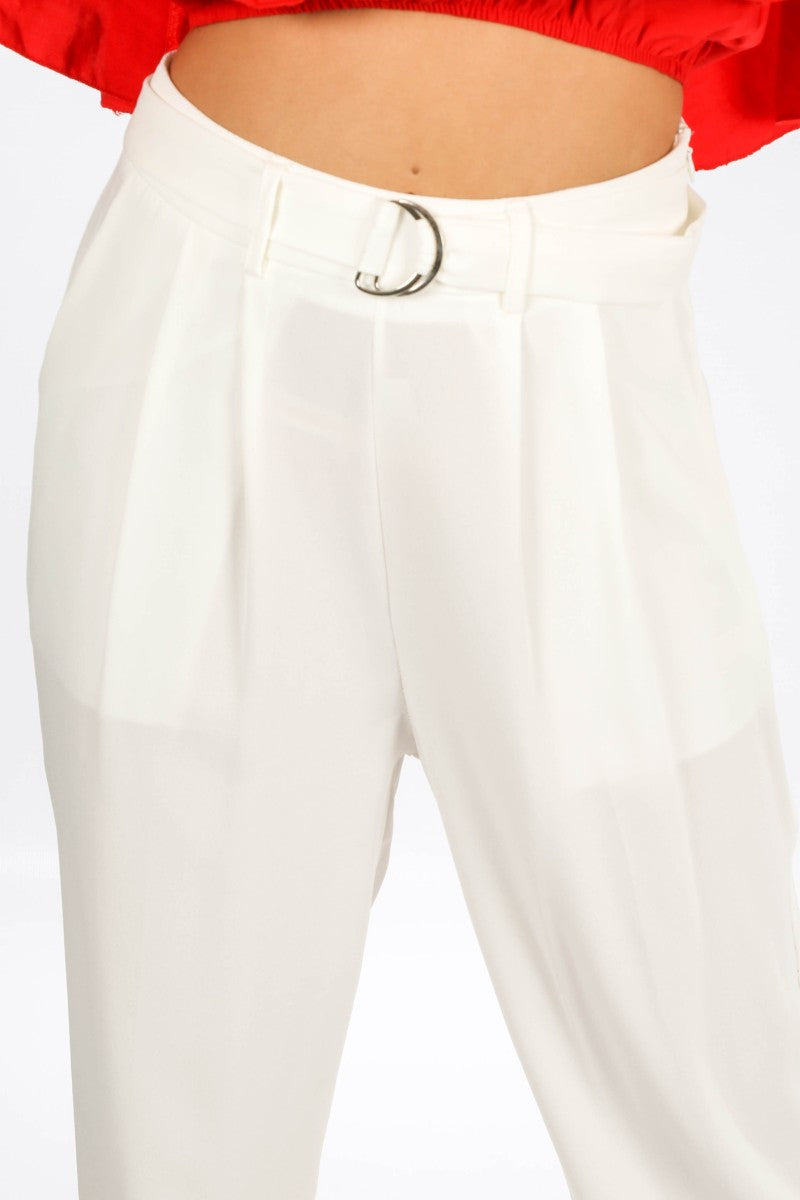 Crepe D-Ring Belted Trouser In White